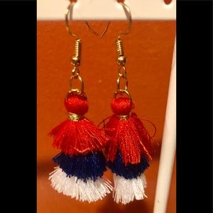 Jewelry - RED WHITE and BLUE USA PATRIOTIC TASSEL DANGLE